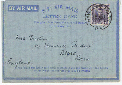 NEW ZEALAND - AIR MAIL LETTER CARD - Pmk. HAVELOCK NORTH -1948 - INTERESTING!!