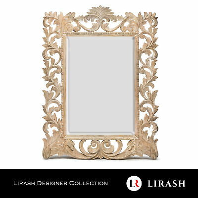 Wall Mirror Rustic Hand Carved Hallway Timber Wooden Large Bevelled 120 x 90 cm