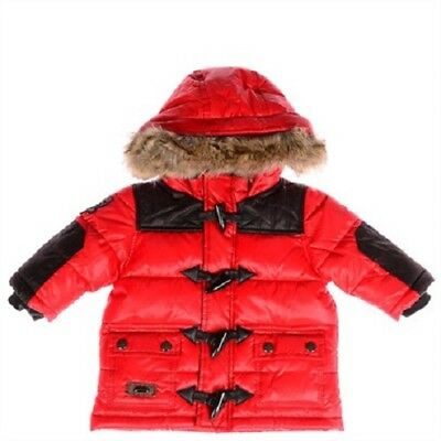 New Baby Size 0 CATIMINI Unisex Puffer Jacket With Hood In Black & Red RRP $160