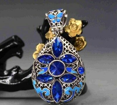 CHINESE EXQUISITE CLOISONNE ZIRCON HANDMADE LUCKY PENDANT zrf Free Shipping