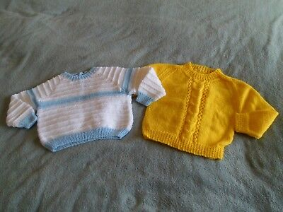 2 X Baby Boys Lovely Hand Knitted Jumpers Age Approx 12 Months New