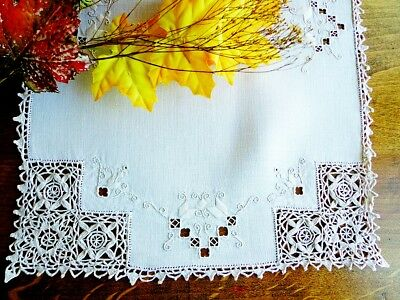 SET 8 Antique Italian Linen Placemats Handmade Reticella Lace & Hand-Embroidery