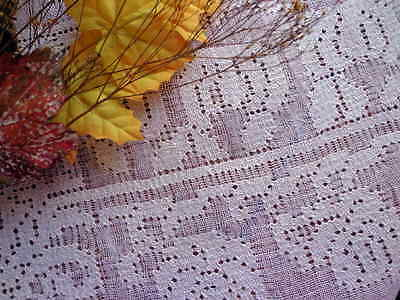Rustic Italian Tablecloth Handmade Embroidered Pulled-Thread Lace & 8 Napkins