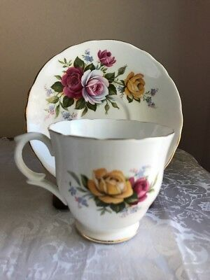 Crown Staffordshire Fine Bone China Gold Trim Tea Cup & Saucer Roses England