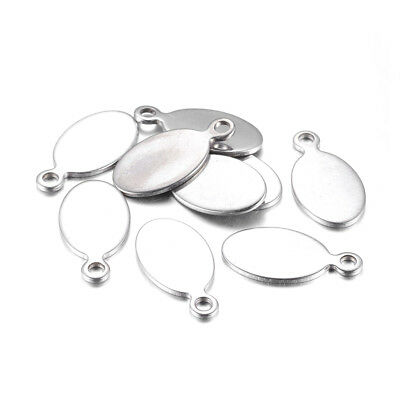 100pcs 304 Stainless Steel Oval Tag Pendants Smooth Stamping Blank Charm 20x10mm
