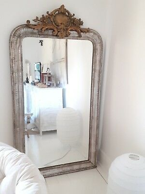 ~ Silver & Gold ~ Beveled Glass French Mirror ~