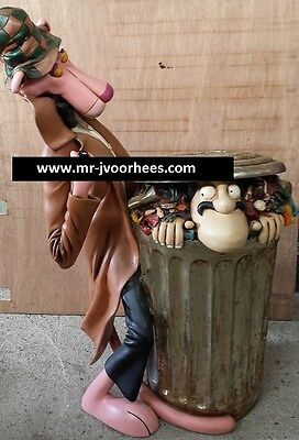 Extremely Rare! Pink Panther as Detective Lifesize Trash Can Figurine Statue