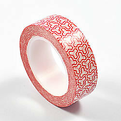 RED GRAPHICS WASHI TAPE - 15mm Width - 10 Meter Roll