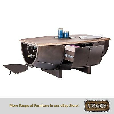 Coffee Table Vintage Industrial Rustic Half Barrel Wine Storage Iron Wood