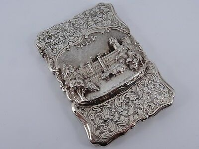 Nathaniel Mills Solid Silver Warwick Castle Visiting Card Case Birmingham 1850