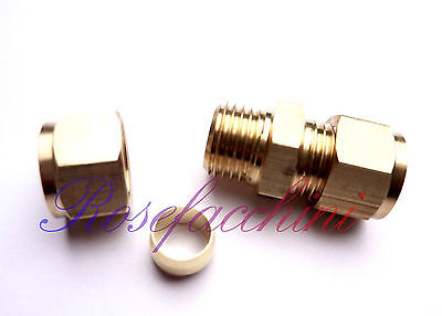 8mm = 5/16 BRASS COMPRESSION CONNECTOR JOINT LPG GAS PIPE FITTING OLIVES PETROL