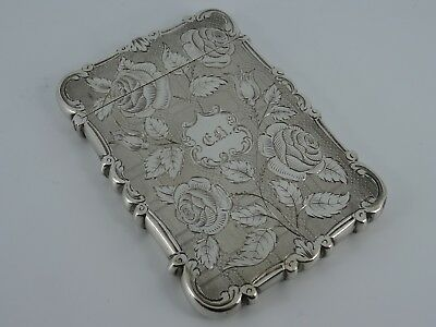 Nathaniel Mills Solid Silver Engraved Roses Visiting Card Case Birmingham 1849