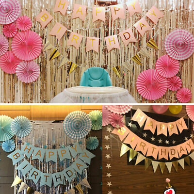 6x Tissue Paper Fan Flowers/ Happy Birthday Bunting Banner Foil Balloons Party