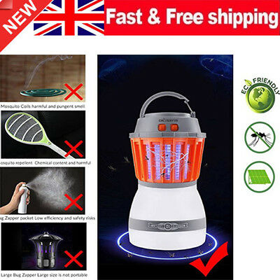 UK Solar LED Mosquito Killer Fly Bug Insect Zapper Light Trap Lamp Camping Home