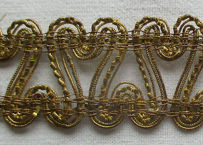 Vin. Gold Metallic Corded Trim Nubby Rococo Smooth French