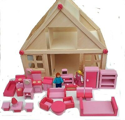 Wooden Dolls House With 20 Pieces of Furniture and 2 Dolls 41x38x29 cm New