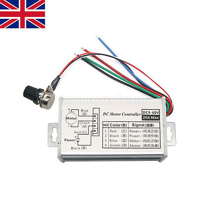 12V 24V Max 20A PWM DC Motor Stepless Variable Speed Control Controller Switch U