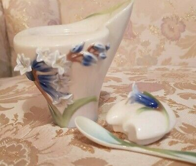 Franz Porcelain Sugar Bowl & Spoon #fz00878 Bluebell