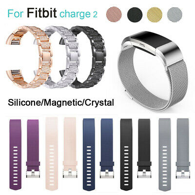 For Fitbit Charge 2  Watch Strap Wrist Band Stainless Steel Crystal Classic UK
