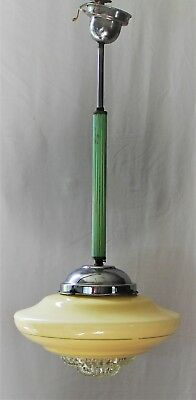 ART DECO LIGHT SHADE UFO Pendant Creme GLASS STEPPED FLYING SAUCER & diffuser