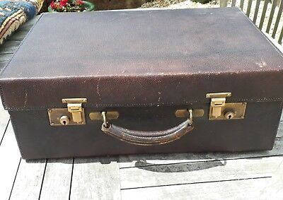 vintage antique leather travelling case suitcase vanity case
