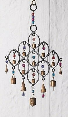 Wind Chime Bell Beads Diamond Bronzed Metal Fair Trade Home Indoor Garden New