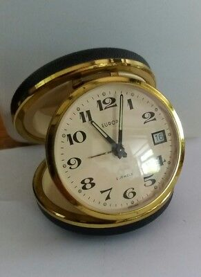Vintage Travelling Folding Europa Alarm Clock German 2 Jewels With Date