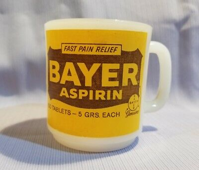 VTG Bayer Aspirin advertising cup mug white milk glass Glasbake? Anchor Hocking?