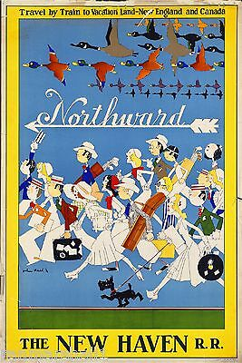 1930s Northward New England Canada Vintage Railroad Travel Advertisement Poster