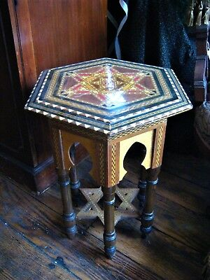 Victorian Turkish Parlor:  HEXAGONAL SYRIAN WOODEN INLAID TABLE  Great Price!