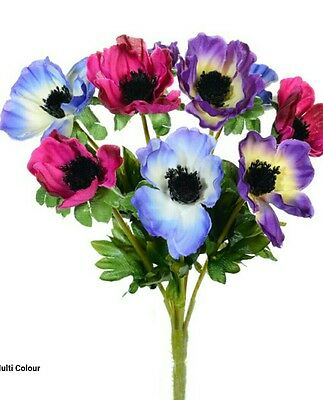 ANEMONE ARTIFICIAL.SILK FLOWER BUNCH.PINK AND PURPLE.9 HEADS.wedding vase Grave