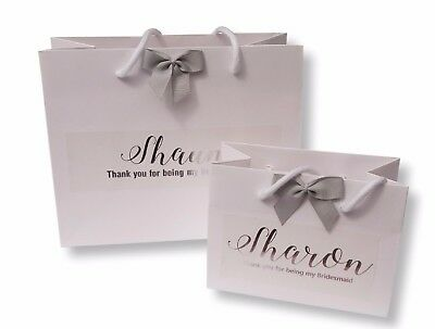 Personalised White Gift Bag Silver Foil Print Thank You Wedding Gift Bridesmaid