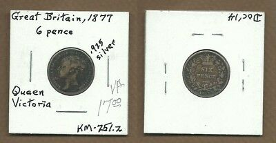 1877 Great Britain Silver 6 pence VF