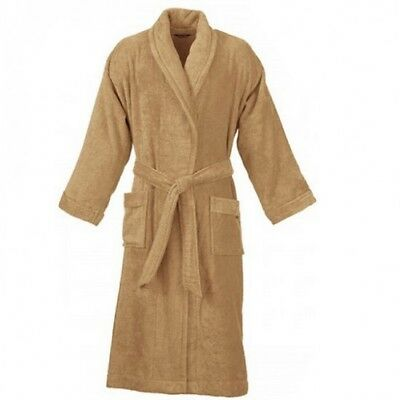 Unisex 100% Cotton Terry Towelling Bath Robe Beige Size Large