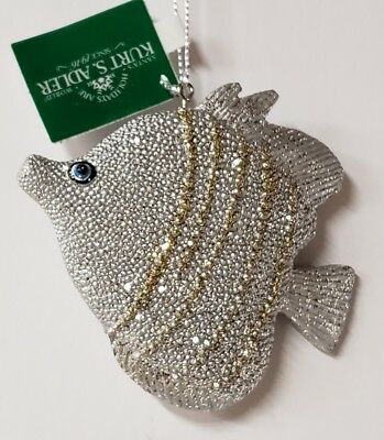 New Kurt Adler Nautical Silver Gold Tropical Fish Resin Ornament New With Tag