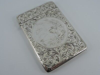 Very Unusual Solid Sterling Silver Visiting Card Case Walker Hall Sheffield 1905