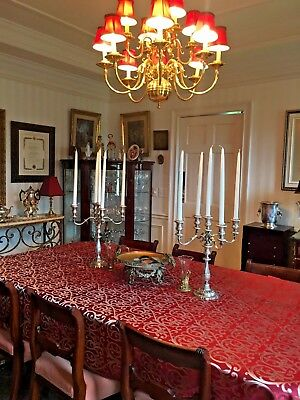 Magnificant Pair Fisher VICTORIA 5 arm STERLING SILVER CANDELABRAS