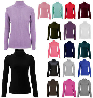 Ladies Plain Ribbed Polo Top Women Turtle Roll Neck Tunic Top Jumper 8-14