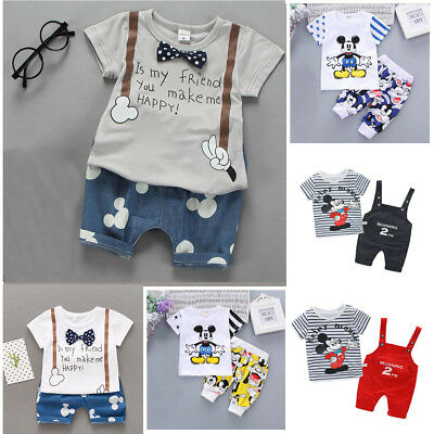 2PCS Toddler Kids Baby boys girls summer Clothes Tee&short Pants Outfits cartoon