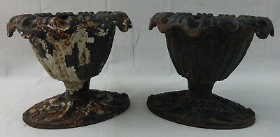Antique Pair of Small Cast Iron Garden Urns Architectural Pieces