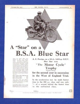 "The  B.S.A. ""BLUE STAR""  3.49h.p. O.H.V.  MORORCYCLE     (1931 Advertisement)"