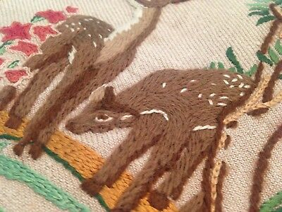 VINTAGE HAND EMBROIDERED PICTURE PANEL STAG And DEER