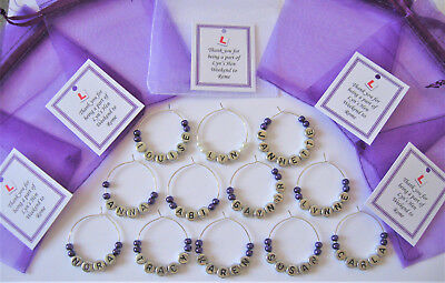 Personalised Wedding Favours /Hen Party Favours - Name Wine Glass Charms (e)