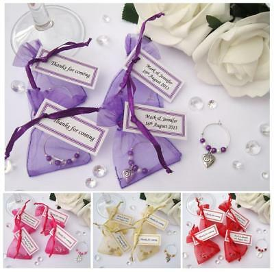Personalised Wedding / Hen Party Favour - Wine Glass Charm in Organza Bag