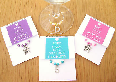 Personalised Wedding / Hen Party Favour - KEEP CALM Wine Glass Charm