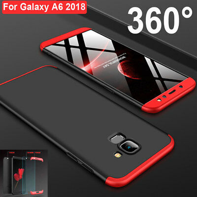 For Samsung A6 Plus 2018 360° Full Protect Hybrid Case Cover+Tempered Glass Film