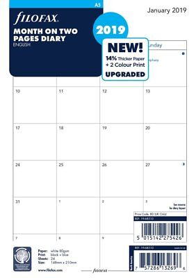 Filofax 2019 A5 size Diary One Month on Two Pages Insert Refill 19-68510