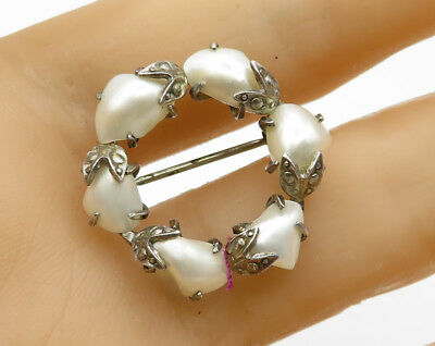925 Sterling Silver - Vintage Floral Real Pearl Wreath Brooch Pin - BP1539