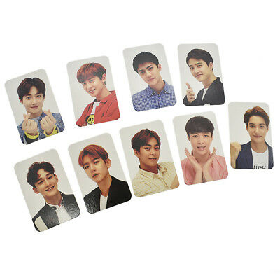 9Pcs/Set EXO Figure Keyring Photo Card Kpop Star Photocards CHANYEOL XIUMIN