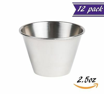 (12 Pack) 2.5 oz Sauce Cups, Stainless Steel Condiment Cups / Portion Cups